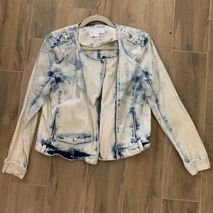 Bar III Acid Wash Denim Jean Moto Zip Jacket